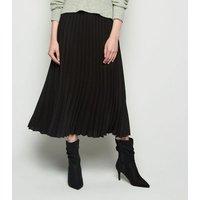 Black Pleated Midi Skirt New Look