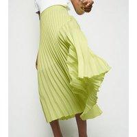 Yellow Neon Pleated Midi Skirt New Look