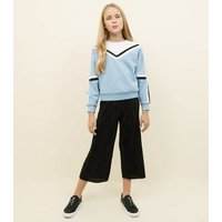 Girls Pale Blue Colour Block Tape Sweatshirt New Look