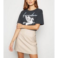 Stone Faux Pocket Leather-Look Mini Skirt New Look