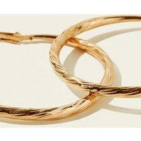 RE:BORN Gold Ridged Hoop Earrings New Look
