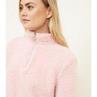 Pale Pink Teddy Borg Zip Neck Sweatshirt New Look