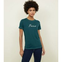 dark-green-paris-contrast-stitch-tshirt-new-look