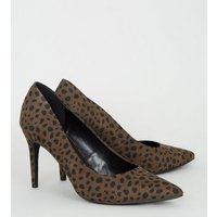 Khaki Animal Print Pointed Court Shoes New Look