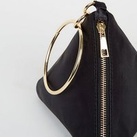 Black Satin Triangle Clutch Bag New Look