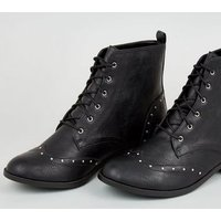 Black Leather-Look Studded Brogue Boots New Look