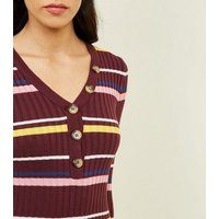 Burgundy Stripe Ribbed Button Front Bodycon Dress New Look