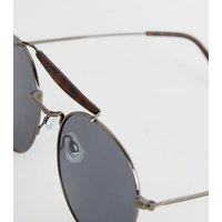 Black Faux Tortoiseshell Brow Bar Pilot Sunglasses New Look