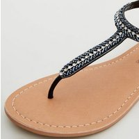 Black Leather Strap Diamante and Bead Sandals New Look