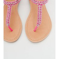 Bright Pink Leather Diamante and Bead Sandals New Look