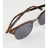 Brown Faux Tortoiseshell Retro Square Sunglasses New Look