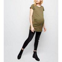 Maternity Khaki Cotton T-Shirt New Look
