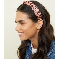 Pale Pink Leopard Print Knot Alice Band New Look
