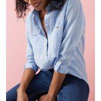 Blue Linen Blend Pocket Front Shirt New Look
