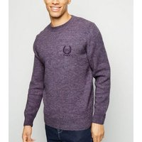 Purple 1992 Crest Embroidered Jumper New Look