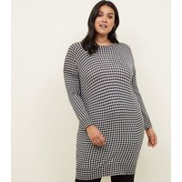 Curves Black Houndstooth Tunic Dress New Look