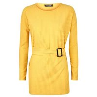 mustard-brushed-rib-buckle-waist-tunic-top-new-look