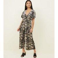 Petite Brown Velvet Snake Print Wrap Jumpsuit New Look