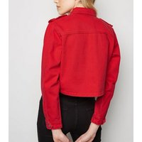 Red Cropped Boxy Denim Jacket New Look
