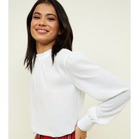 Off White Frill Neck Long Sleeve Top New Look