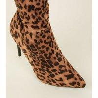 Stone Leopard Print Over The Knee Stiletto Heels New Look