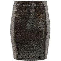 Girls Black Mirrored Sequin Tube Skirt New Look