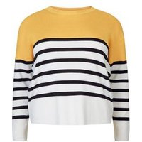 Curves Yellow Colour Block Stripe Jumper New Look