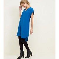 Apricot Blue V Neck Dipped Hem Dress New Look