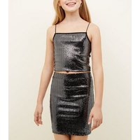 Girls Black Mirroed Sequin Cami New Look