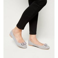 Wide Fit Grey Suedette Metal Trim Bow Ballet Pumps New Look