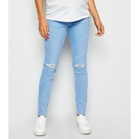 Maternity Pale Blue Ripped Knee Over Bump Jeans New Look