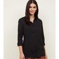 Black Crepe Long Sleeve Shirt New Look