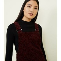 Burgundy Leopard Print Corduroy Pinafore Dress New Look
