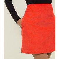 Red Corduroy Pocket Side Mini Skirt New Look