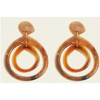 Brown Double Irregular Resin Teardrop Earrings New Look