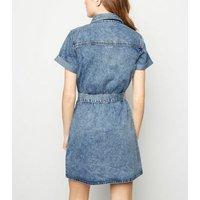 Pale Blue Acid Wash Denim Utility Shirt Dress New Look