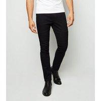 Black Stitched Panel Biker Skinny Jeans New Look