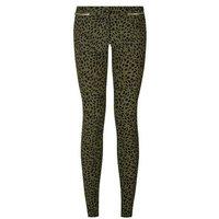 Khaki Leopard Print Zip Trim Slim Leg Trousers New Look