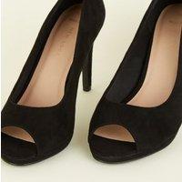 Wide Fit Black Suedette Peep Toe Heels New Look