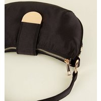 Black Satin Shoulder Bag New Look