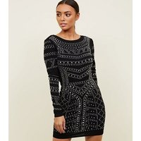 Cameo Rose Black Crystal Embellished Bodycon Dress New Look