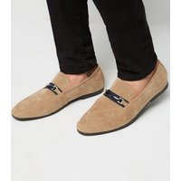 Stone Suedette Bar Front Loafers New Look