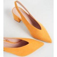 Mustard Comfort Flex Suedette Slingback Heels New Look