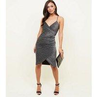 QED-Silver-Glitter-Bodycon-Wrap-Dress-New-Look