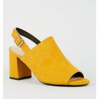 Mustard Comfort Flex Peep Toe Block Heels New Look