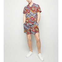 Red Aztec Print Shorts New Look