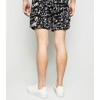 Black Scribble Print Shorts New Look