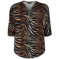 Curves Brown Ombré Tiger Print Tunic Top New Look