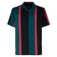 Black Vertical Stripe Revere Collar Shirt New Look