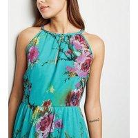 Blue Vanilla Mint Green Floral Halterneck Maxi Dress New Look